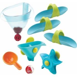Haba badspeelgoed knikkerbaan watertrechter blauw 8-delig