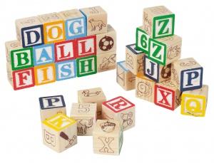 30 houten blokken letters en cijfers