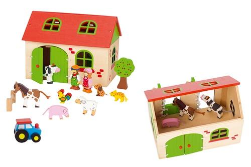 Goki houten boerderij 13 delig internet toys for Poppenhuis voor peuters