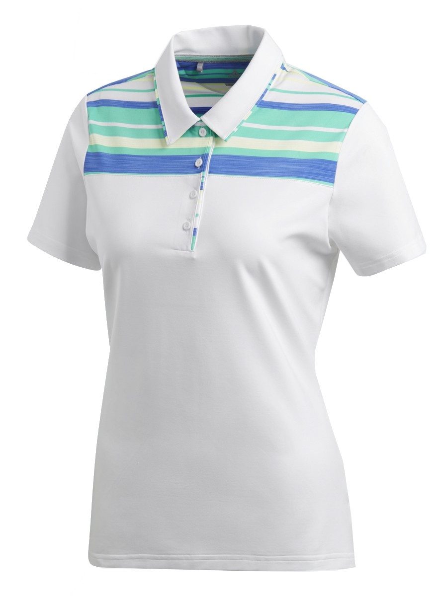 golf polo Ultimate ladies white / blue / green