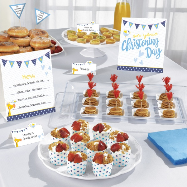 Tischdekoration Buffet Taufe Party Jungen 12 Teilig