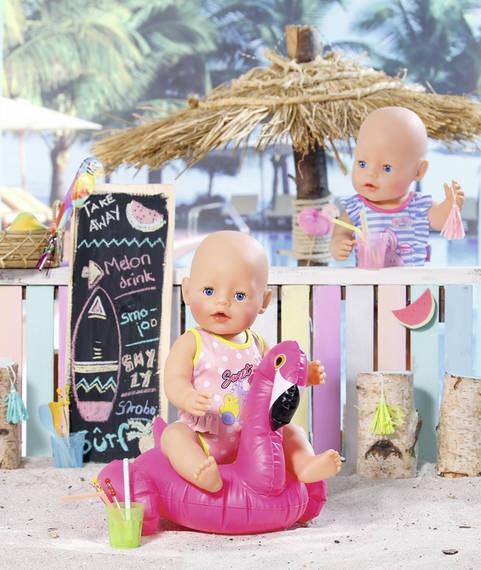 150e98b68b38fc BABY born badpak 43 cm stipjes roze/groen - Internet-Toys