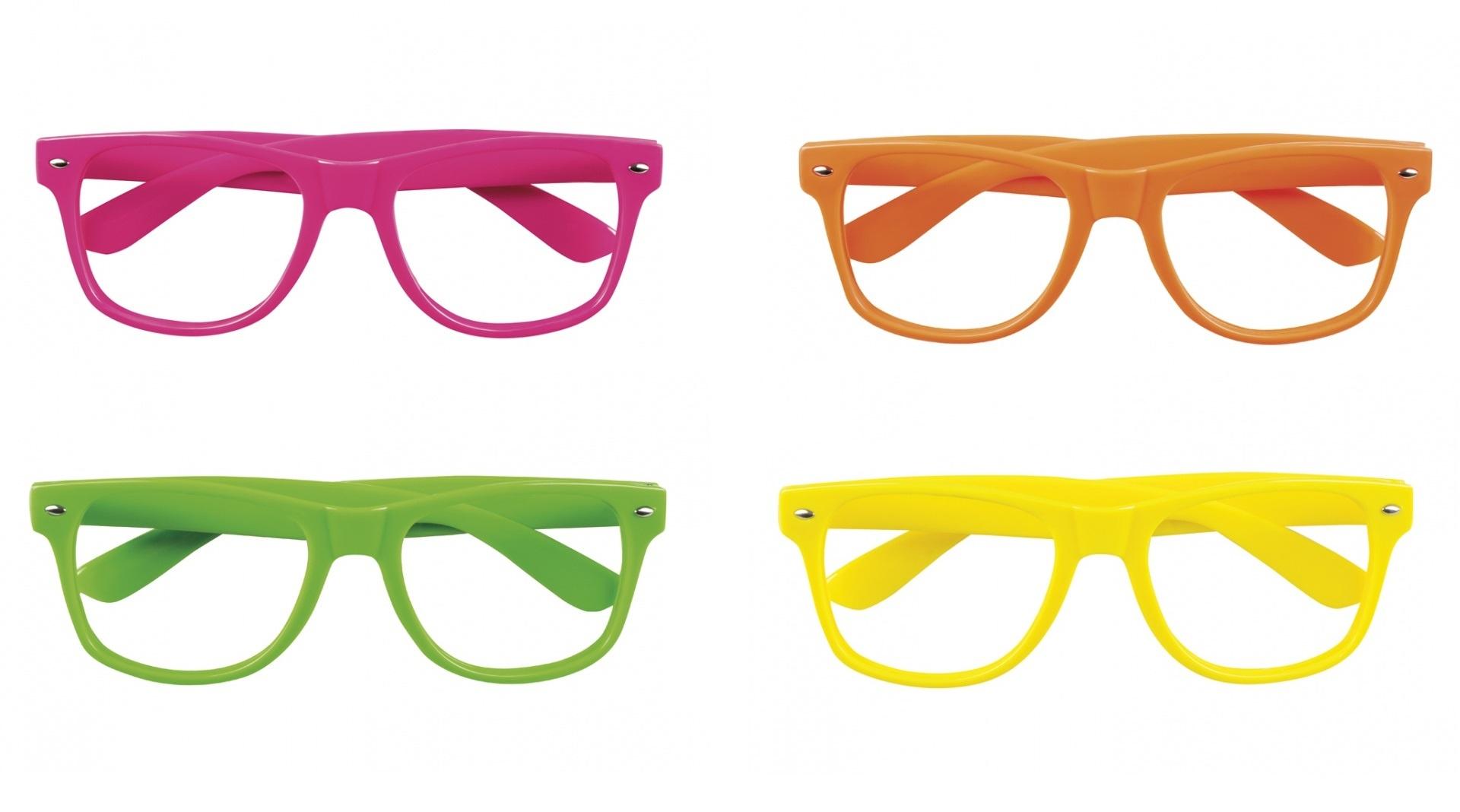 magasiner pour l'original nouvelle apparence en ligne à la vente lunettes de fête sans verres 4 pièces en 4 couleurs néons