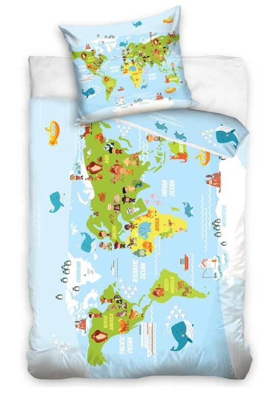 duvet cover world map 140 x 200 cm