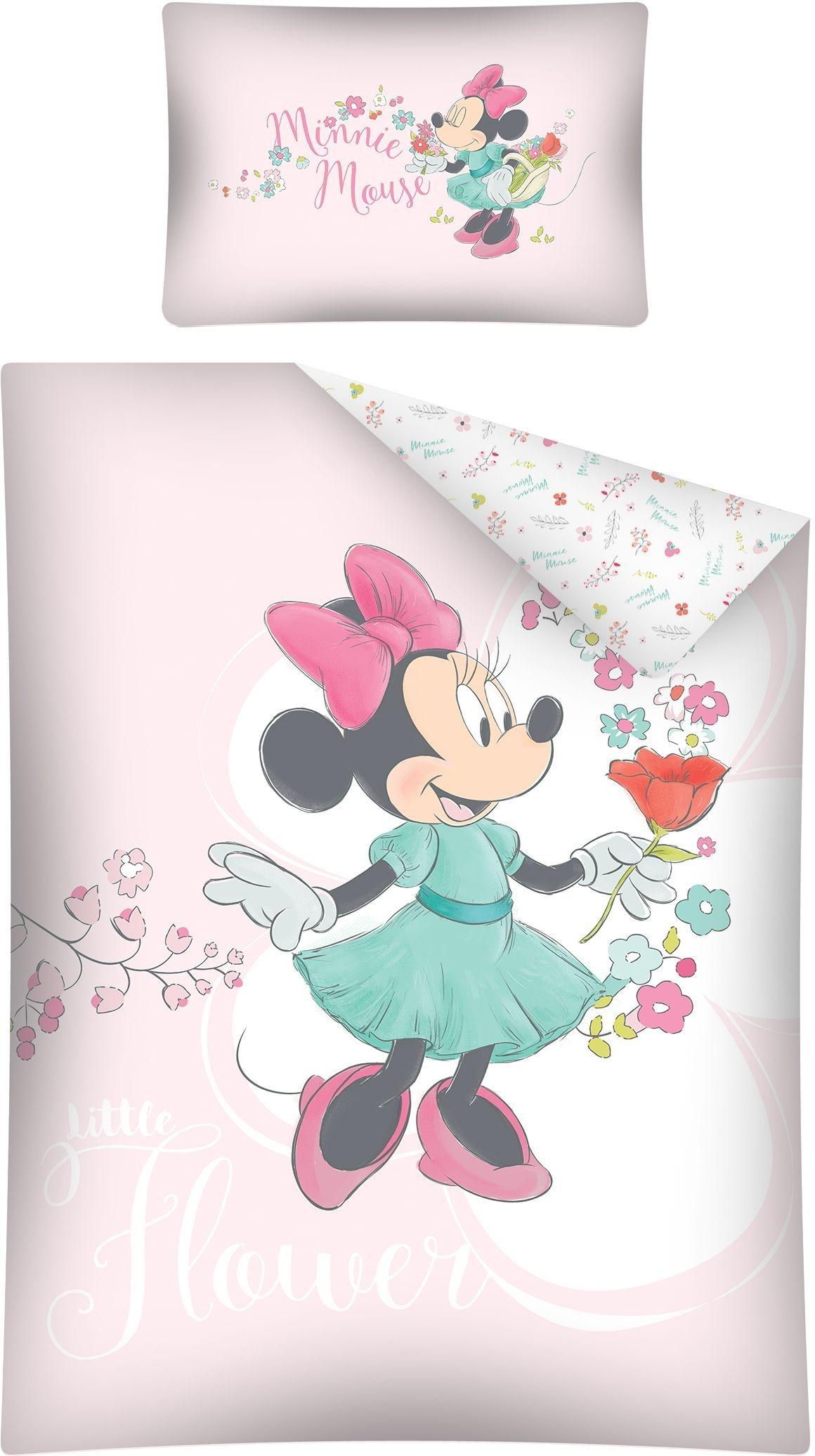 Disney Bettwäsche Minnie Maus Blumen 100 X 135 Cm Rosa Internet Toys