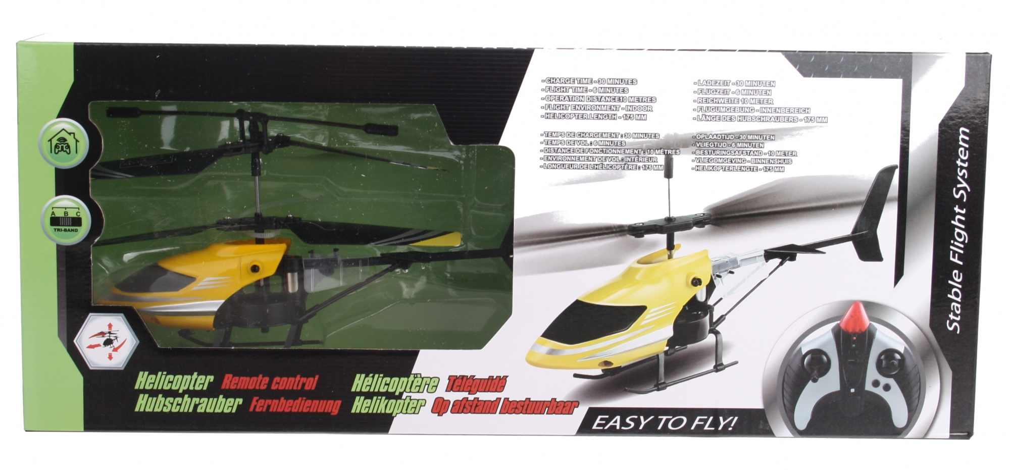 RC helicopter plastic yellow 17 cm
