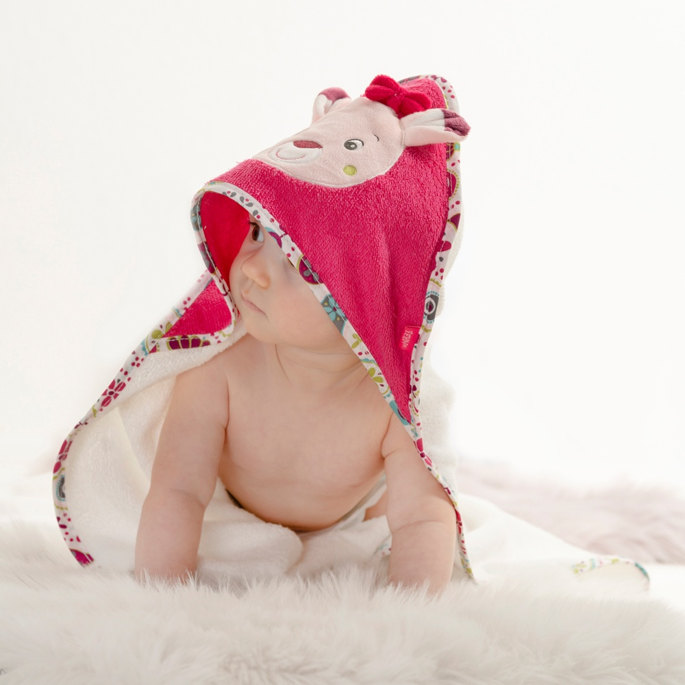 0079171fa82 Fehn badcape hert roze/ wit 80 cm - Internet-Toys
