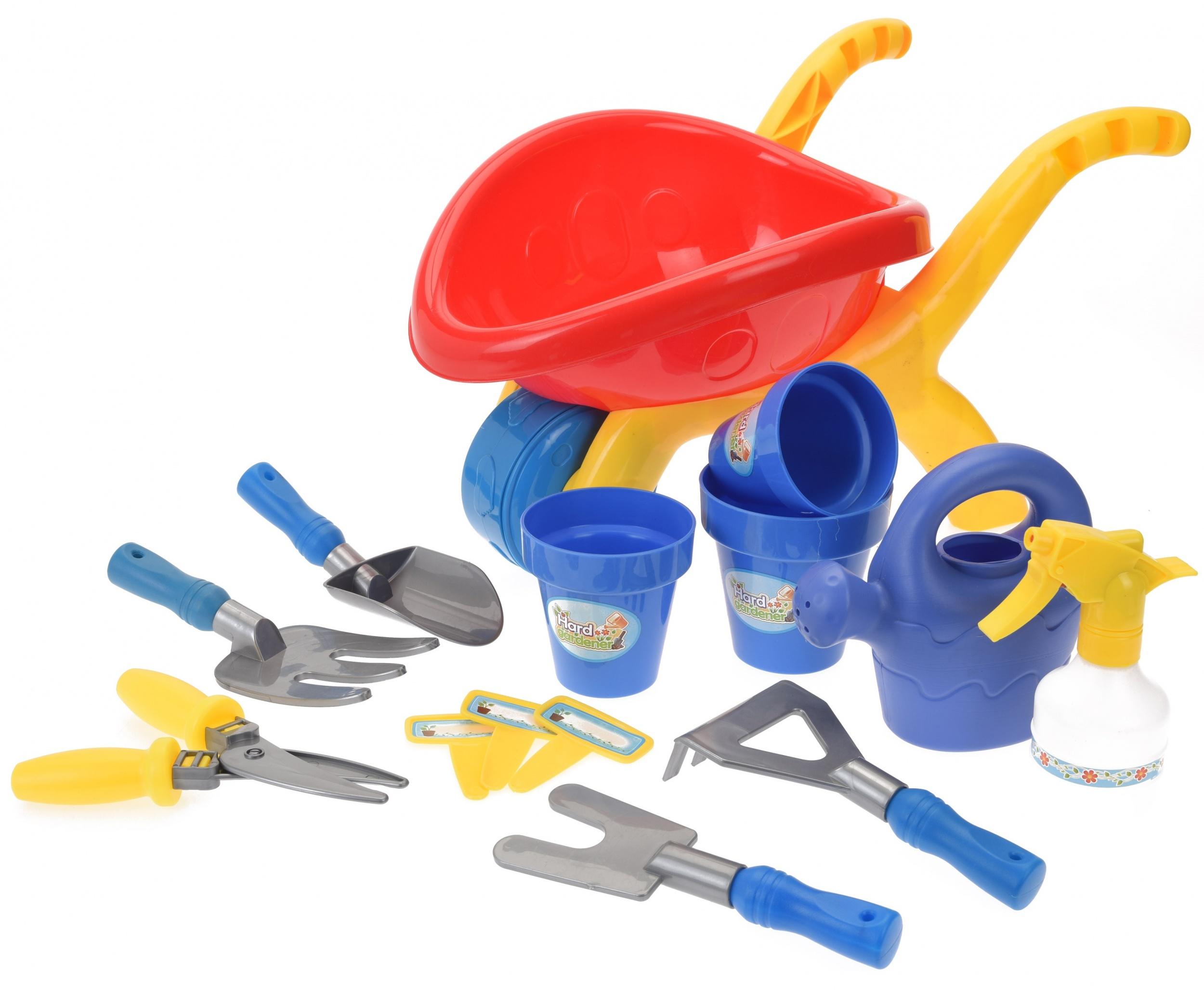 set brouette de jeu outils de jardin 14 pièces rouge