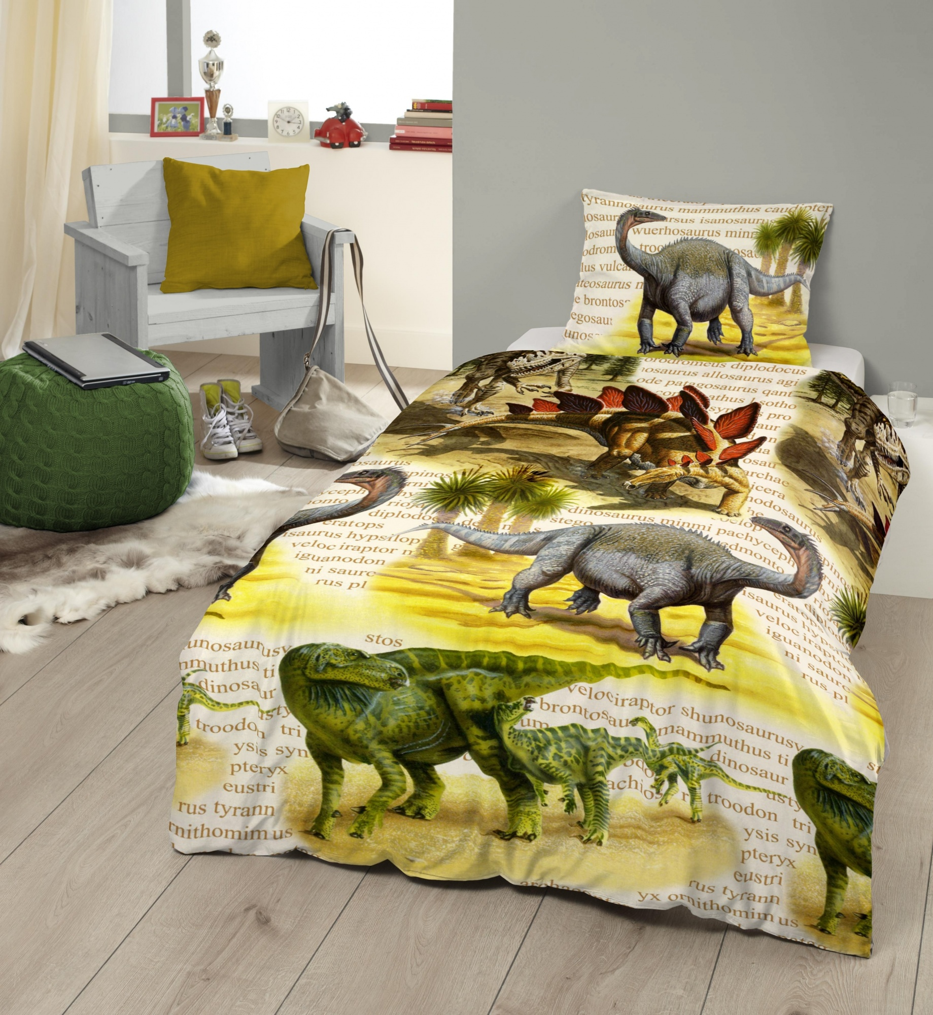 Good Morning dekbedovertrek Dino 140 x 200 220 cm geel