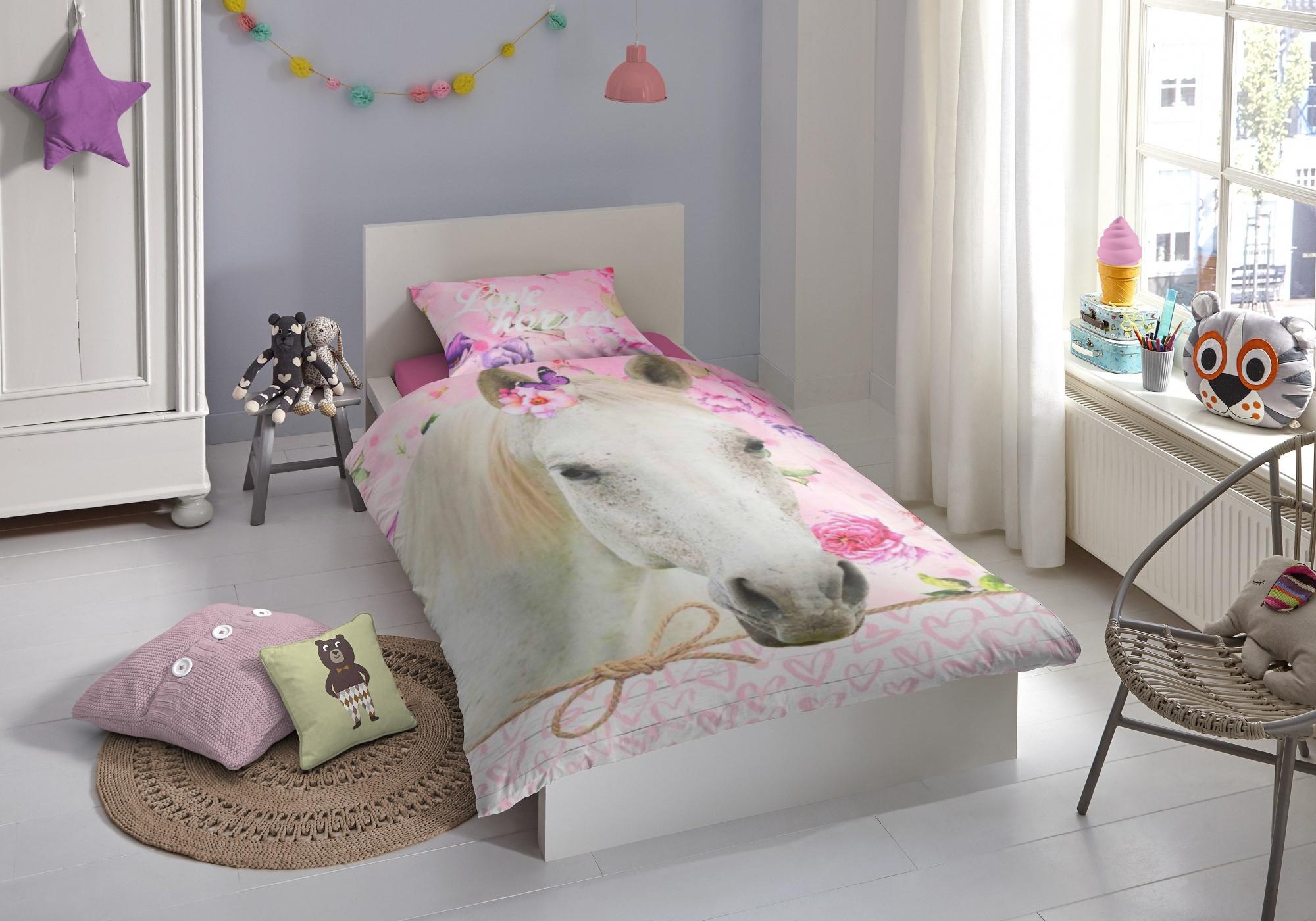 Good Morning dekbedovertrek Paard 140 x 200 220 cm roze