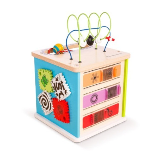Wooden Activity Cube And Bead Frame Console