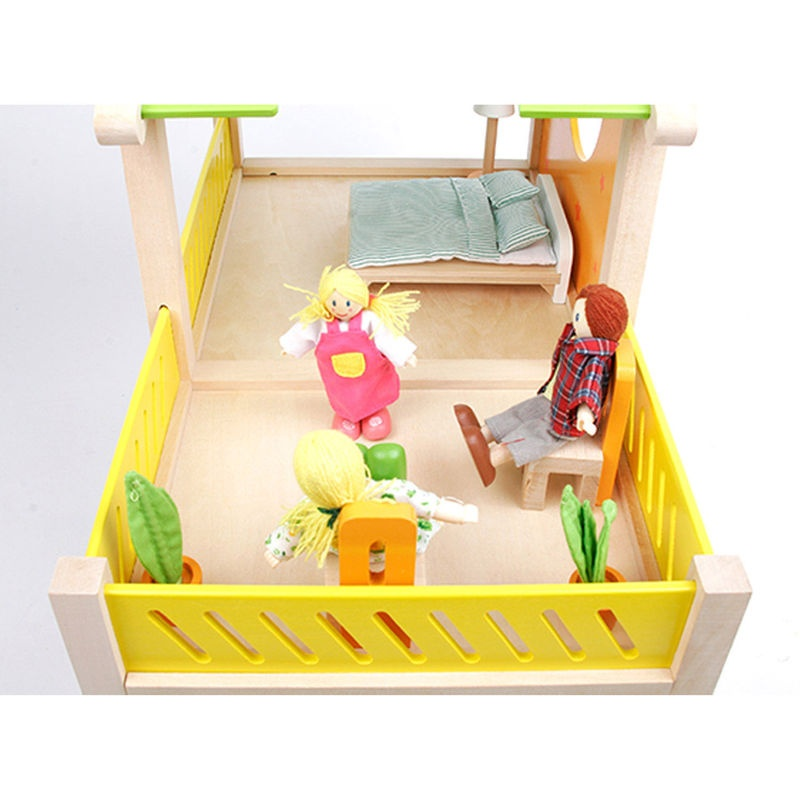 Hape Wooden Dollhouse Happy Villa 26 Piece Internet Toys