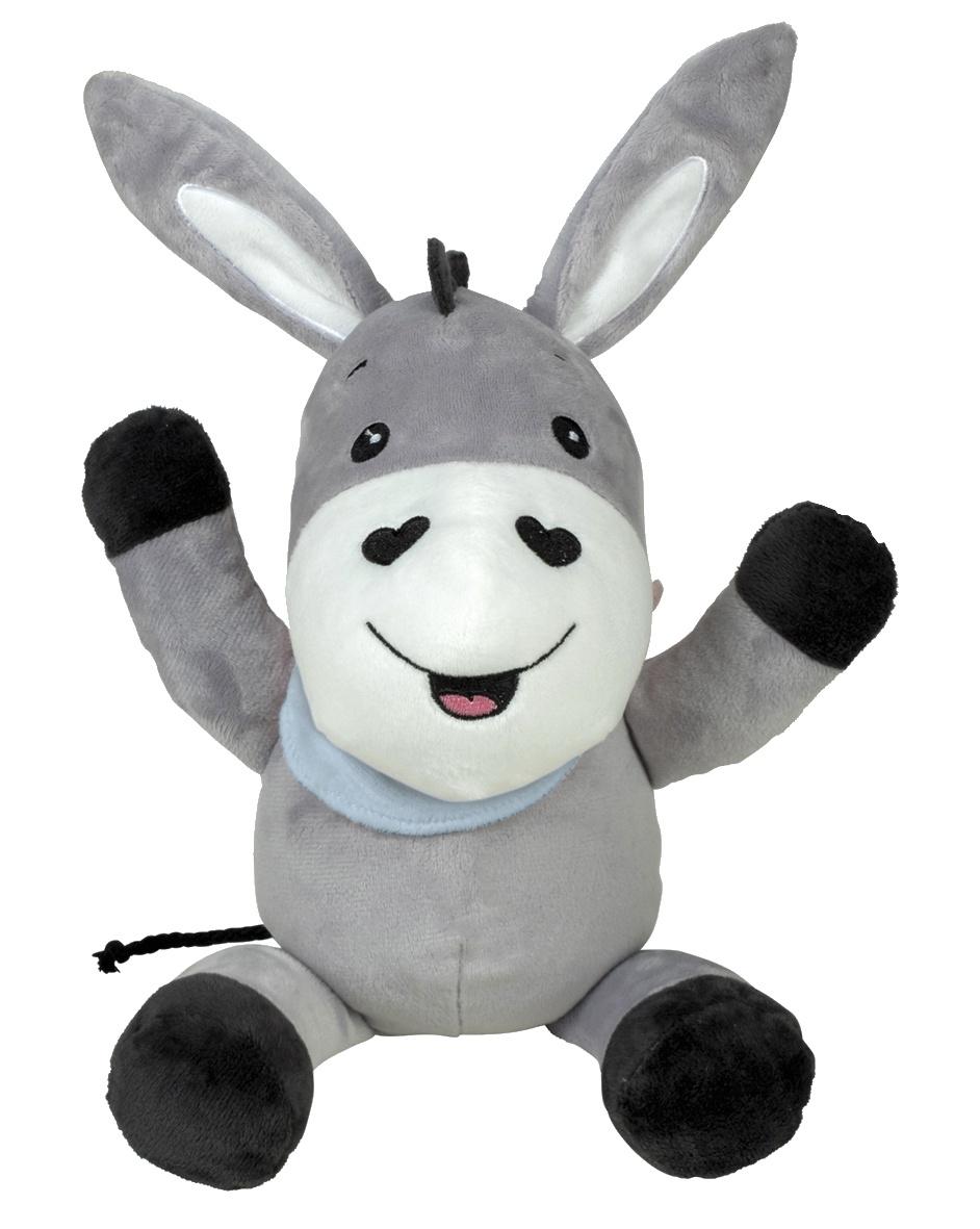 cuddly toy with sound grey/blue 25 cm