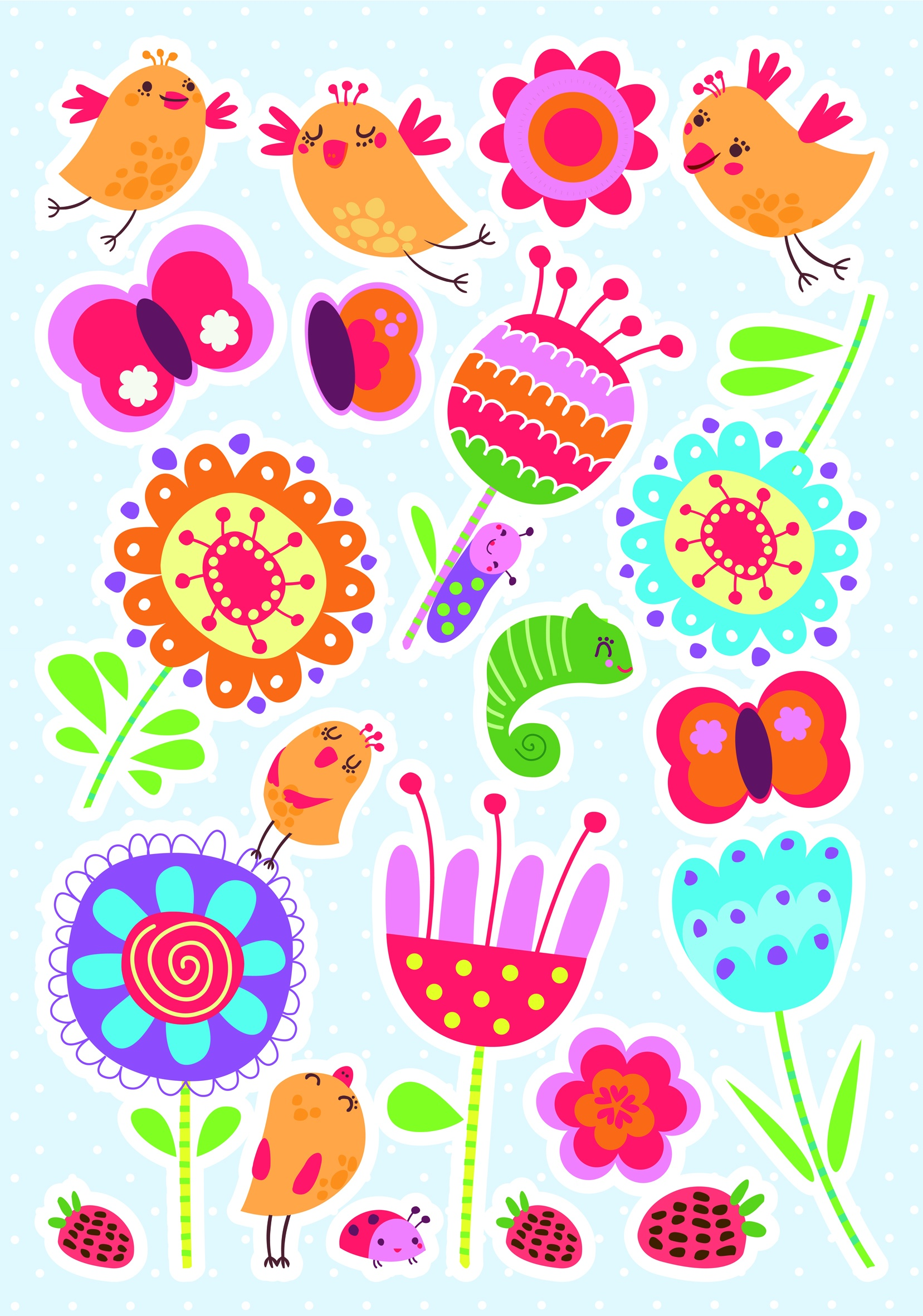Muurstickers Den Haag.Kids Decor Wall Stickers Birds Flowers 47 X 70 Cm