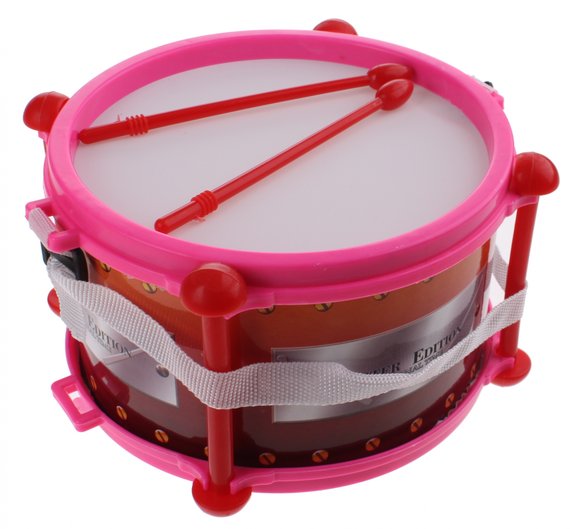 drum with sticks 19 cm plastic pink 3-piece