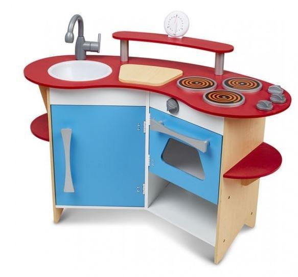 Wooden Corner Kitchen 93 X 42 X 66 Blue Red