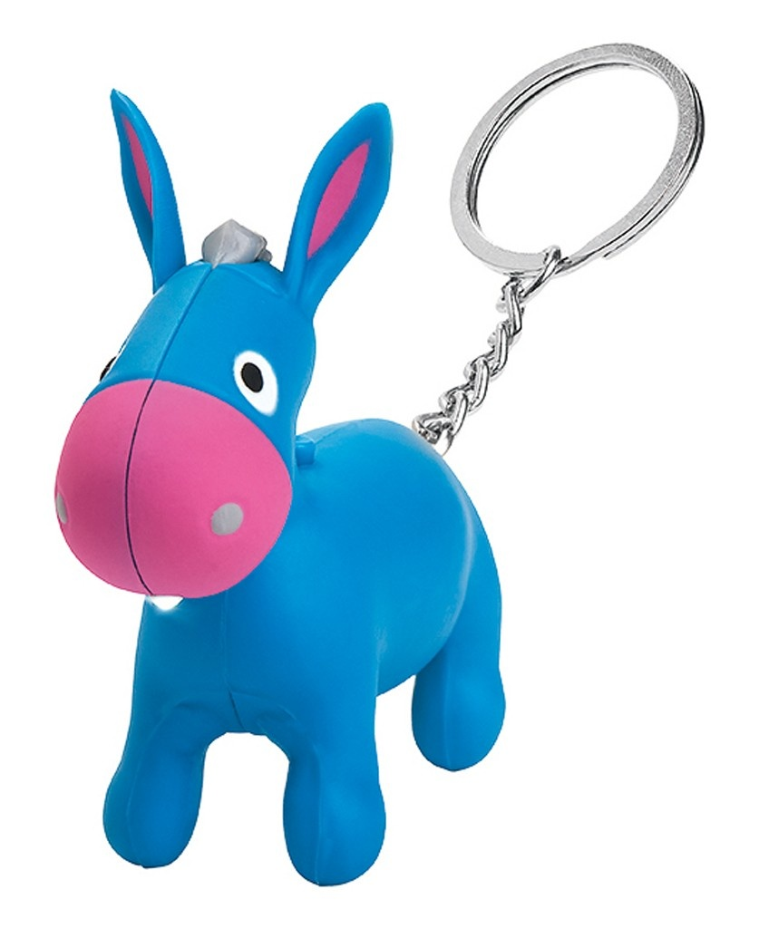 keychain with light and sound donkey 6,5 cm blue