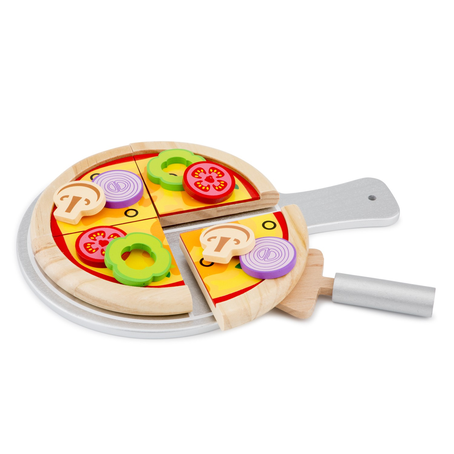 New Classic Toys Pizza Set Junior 28 Cm Wood 14 Piece Internet Toys