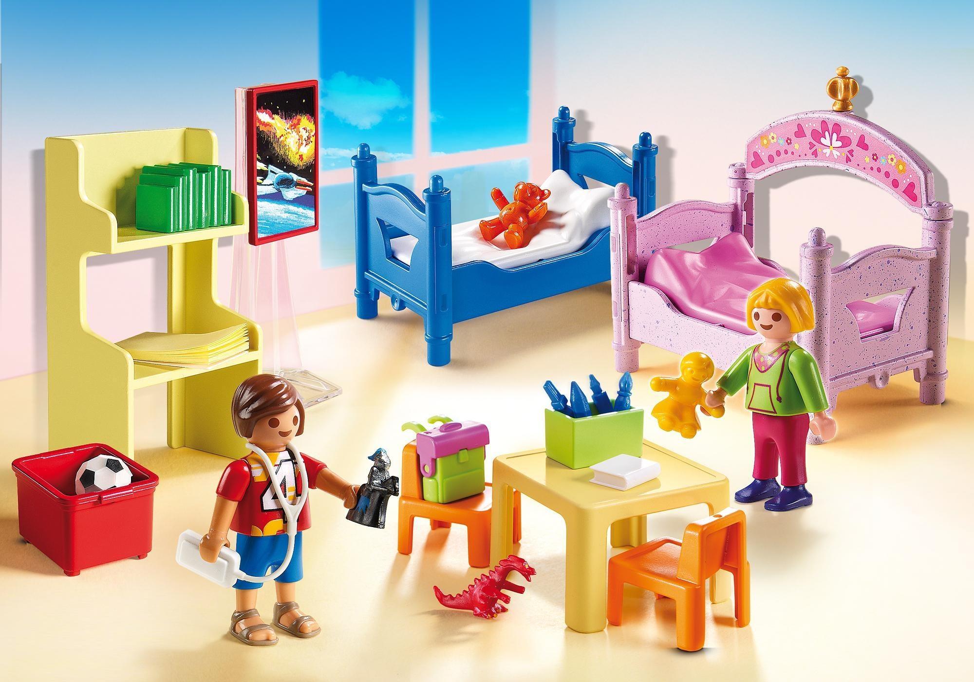 Etagenbett Puppenstube : Playmobil puppenhaus: kinderzimmer mit etagenbetten 5306