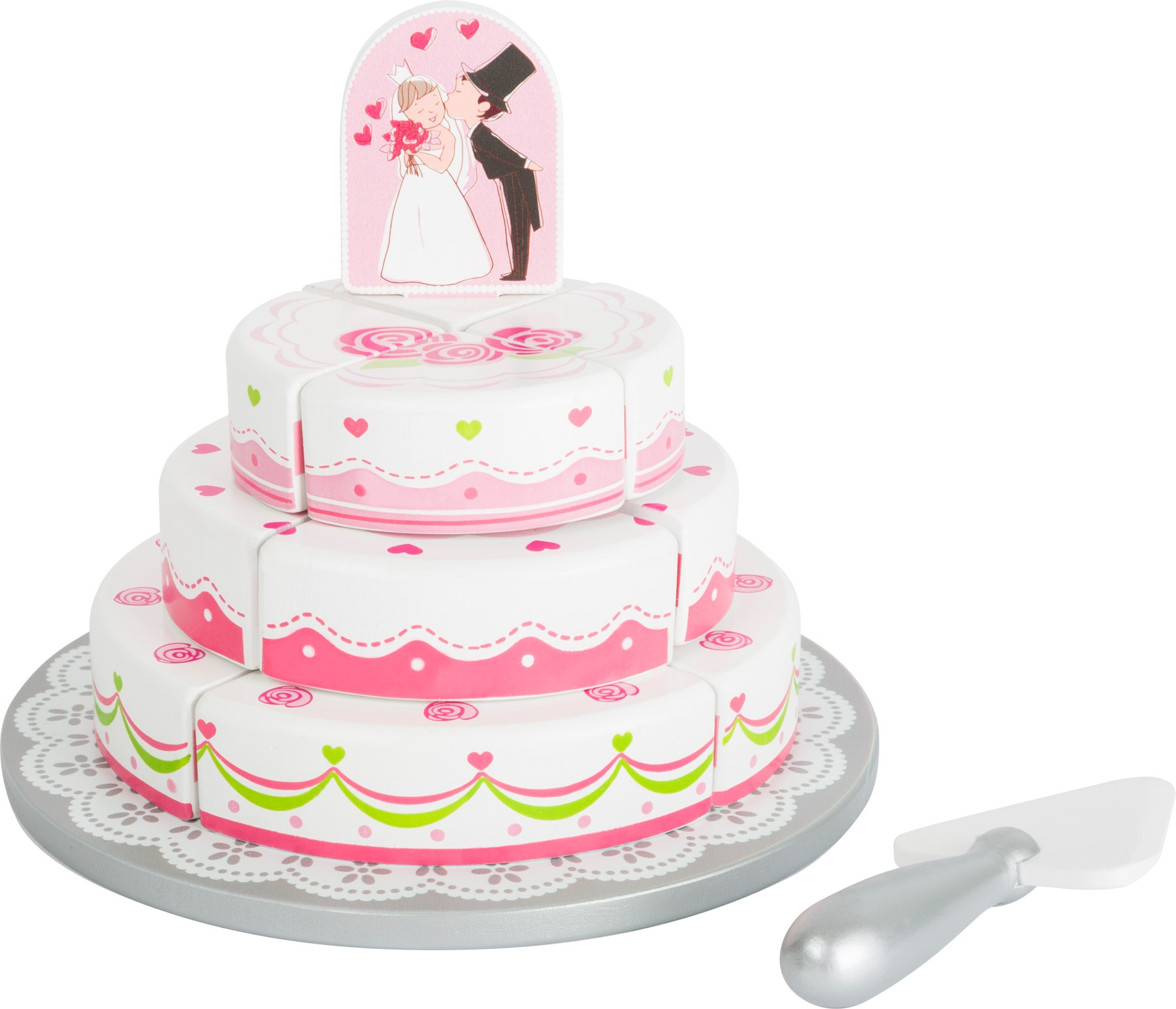 Small Foot Wooden Wedding Cake Whitepink 20 X 16 Cm Internet Toys