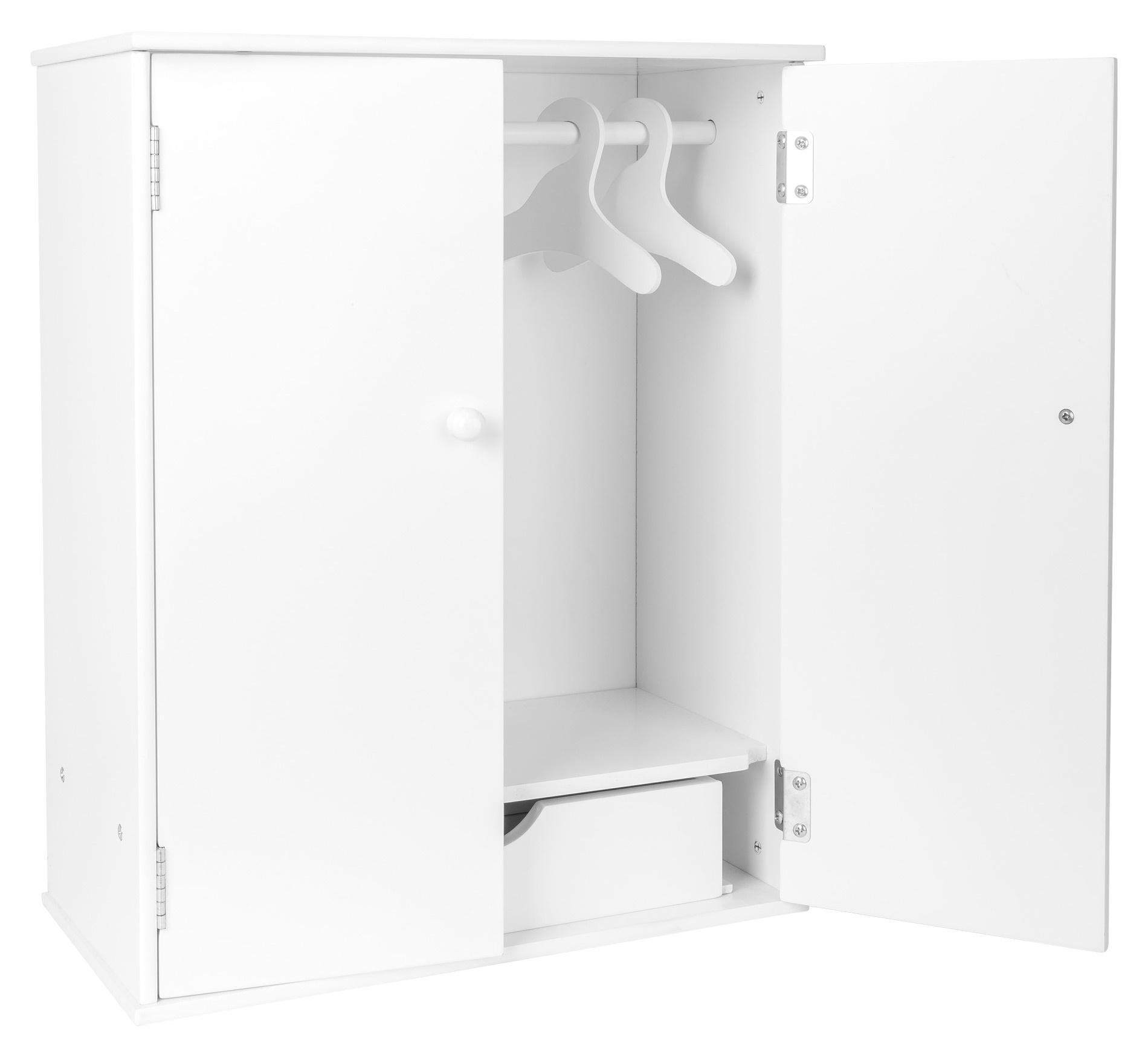 Small Foot armoire à poupées en bois 53 cm blanc Internet Toys