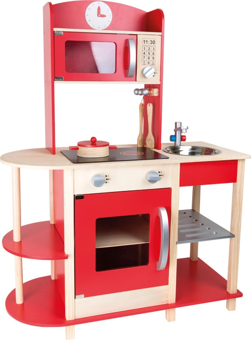 small foot speelgoedkeuken hout rood 78 x 34 x 106 cm internet toys. Black Bedroom Furniture Sets. Home Design Ideas