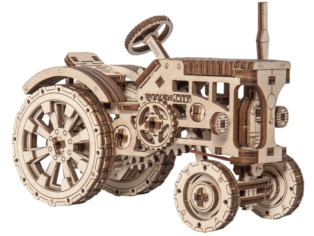 wooden 3d puzzle tractor 16 cm