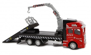 2-Play autotransporter diecast pull-back 19 cm rood