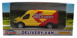 2-Play schaalmodel Ford Transit bestelbus pull-back geel