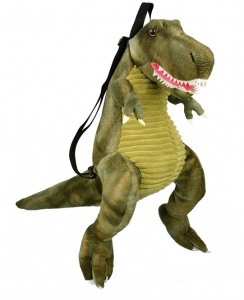 Grimini dino T-rex plush backpack and cuddly toy 7 litres green