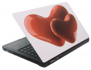 Amigo laptop sticker hartjes rood/wit