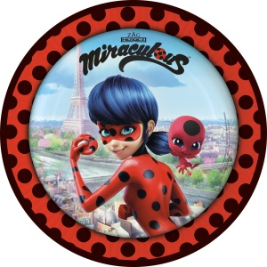 Amscan plates Miraculous 8 pieces 23 cm red/black