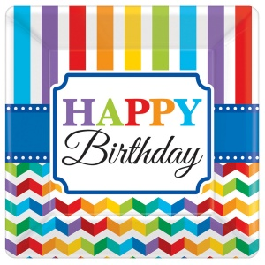 Amscan party boards Bright Birthday 17,7 x 17,7 cm 8 pieces