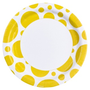 Amscan party boards Dots 22,8 cm 8 pieces yellow