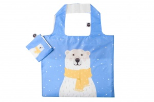 Any Bags opvouwbare shopper ijsbeer 48 cm blauw