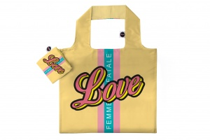 Any Bags opvouwbare shopper Love 48 cm geel