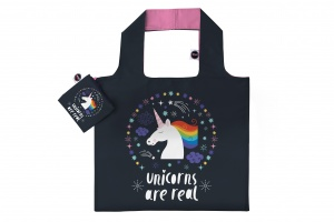Any Bags opvouwbare shopper Unicorns are real 48 cm zwart