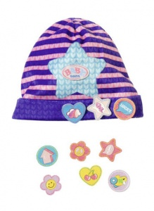 BABY born hat with funny pins 43 cm purple