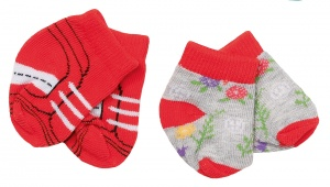 BABY born socks Trend43 cm double pack red/grey
