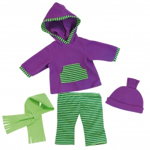 Bayer clothing set 46 cm purple / green 4-piece