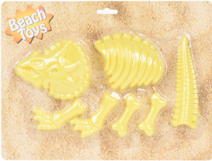 Beach Toy Sand moulds dino yellow 31 x 23 cm 9-piece set
