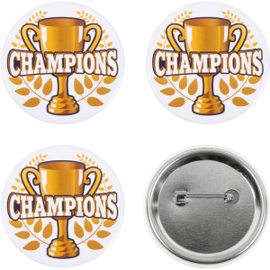 Boland buttons Champions 5,5 cm staal/papier wit/geel/blauw