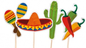Boland cocktailprikkers Mexico Fiesta 12 stuks multicolor