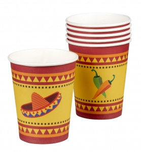 Boland feestbekers Mexico Fiesta 25 cl 6 stuks rood/geel