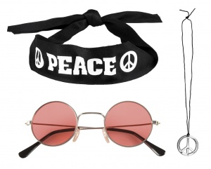 Boland Hippie dress kit: glasses, headband and unisex necklace