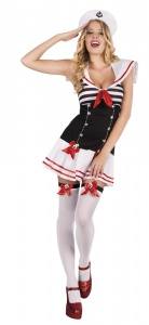 Boland verkleedpak Darling Sailor dames zwart/wit