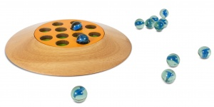 BS Toys knikkerbord met 12 knikkers hout 19 cm blank