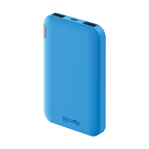 Celly powerbank 5000 mAh 5 Volt 2,1 Ampère blauw 2-delig