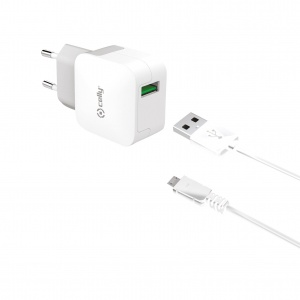 Celly thuislader Turbo Charger single USB 2.4A + Micro-USB-kabel wit