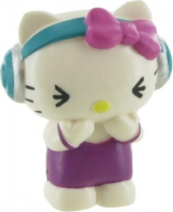 Comansi speelfiguur Hello Kitty: Music 6 cm wit